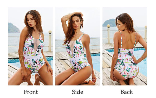 White Floral One Piece Swimsuit