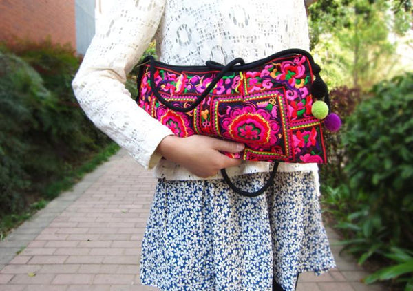 Handmade Embroidered Shoulder Bag by Pesci Moda