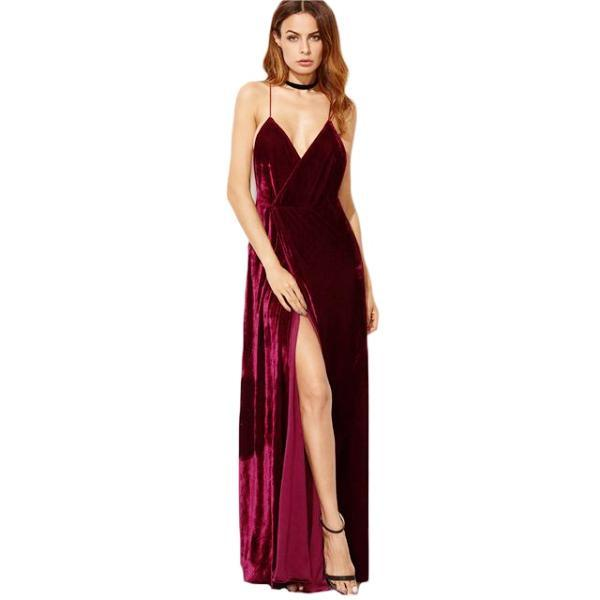 Burgundy Velvet Backless Maxi Dress by Pesci Moda