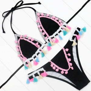 Hot Pink Tassel Black Bikini Set