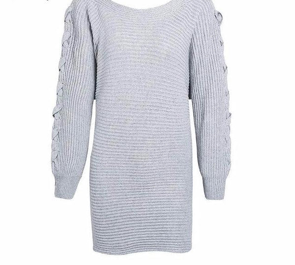 Casual Batwing Sleeve Knitted Grey Dress