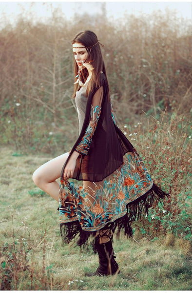 Bohemian Embroidery Tassel Cover Up by Pesci Moda
