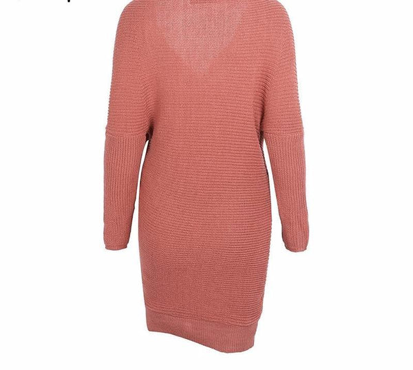 Casual Cross Neck Knitted Dress by Pesci Moda