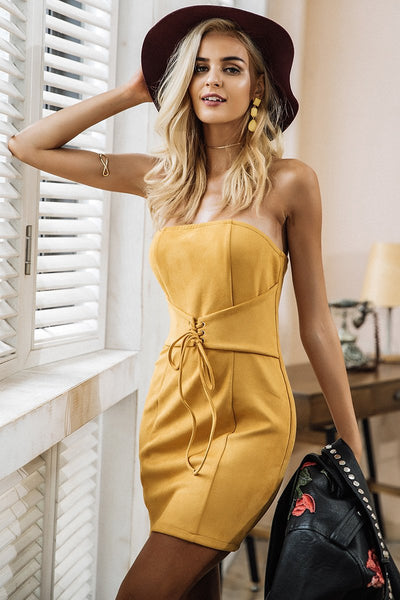 Yellow Suede Short Dress
