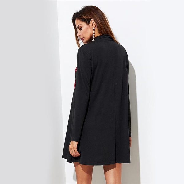 Embroidered Flower Long Sleeve Black Dress by Pesci Moda
