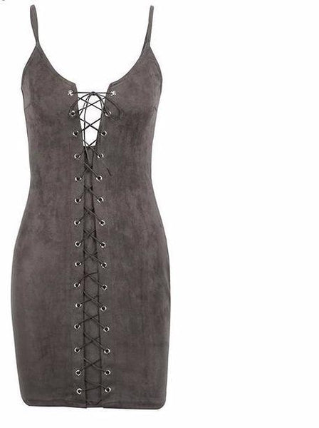 Lace Up Suede Bodycon Dress by Pesci Moda