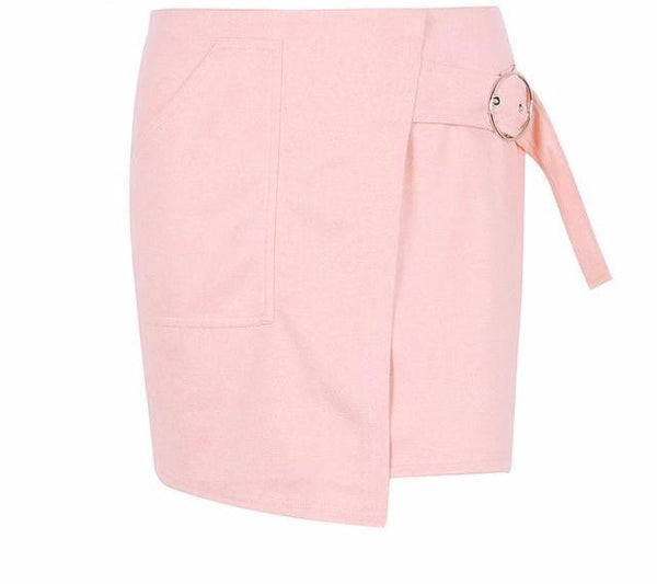Pink Suede Leather Pencil Skirt