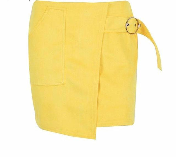 Yellow Suede Leather Pencil Skirt