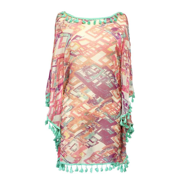 Multicolor Blue Tassel Cover Up by Pesci Moda