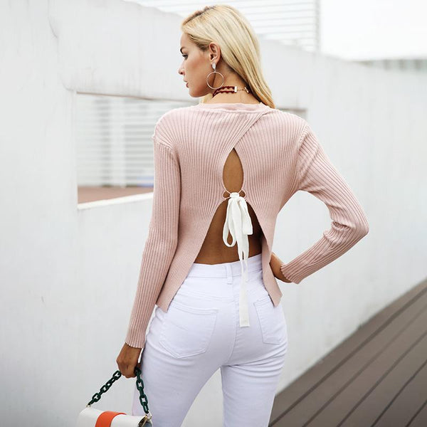 Pink Backless Sweater