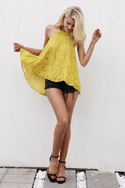 Yellow Halter Backless Lace Top by Pesci Moda