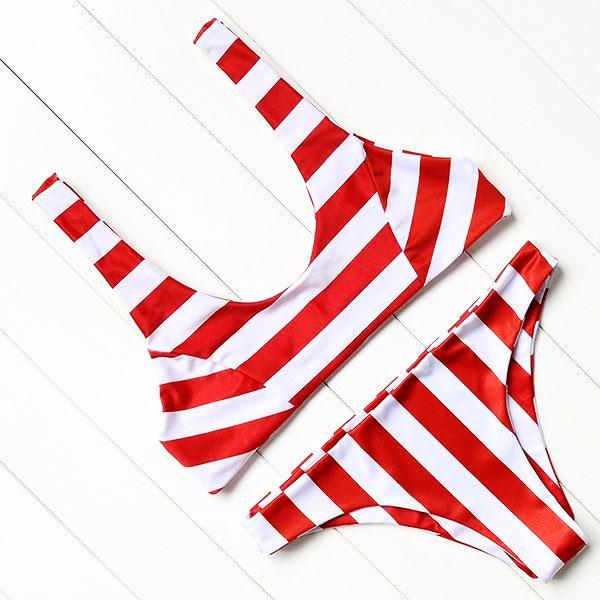 Red Striped Push Up Bathing Suit by Pesci Moda