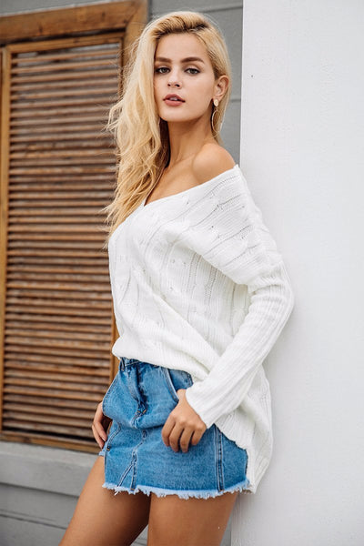 Oversized Knitted Cross Back Loose Sweater by Pesci Moda