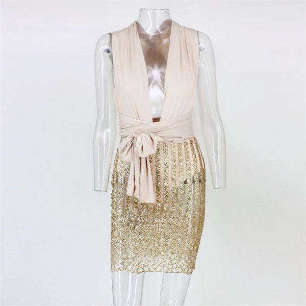 Vintage Gold Sequins Bodycon Party Dress by Pesci Moda