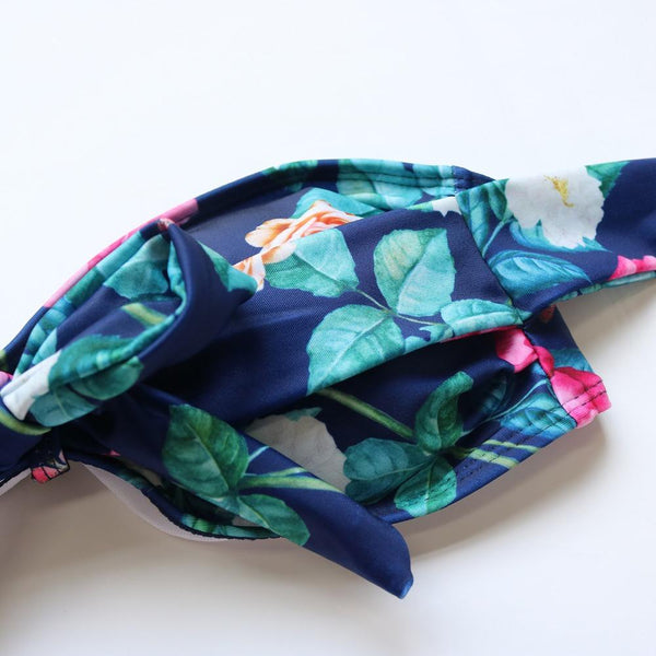 Sun Love Deep Blue Floral Tie Up Bikini