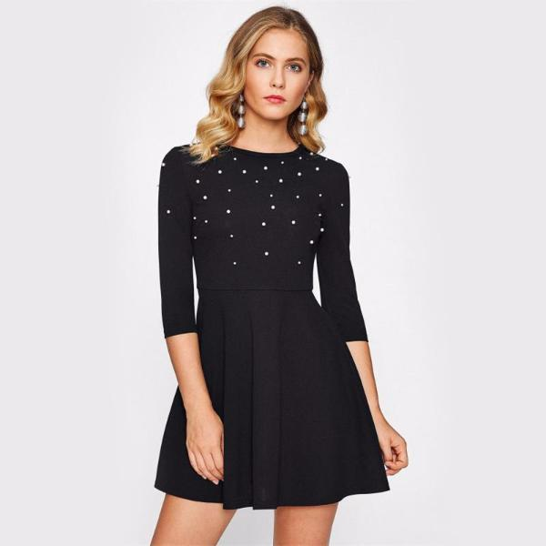 Black Pearl Embellished Party Mini Dress by Pesci Moda