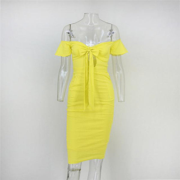 Yellow Bow Knot Bodycon Dress by Pesci Moda