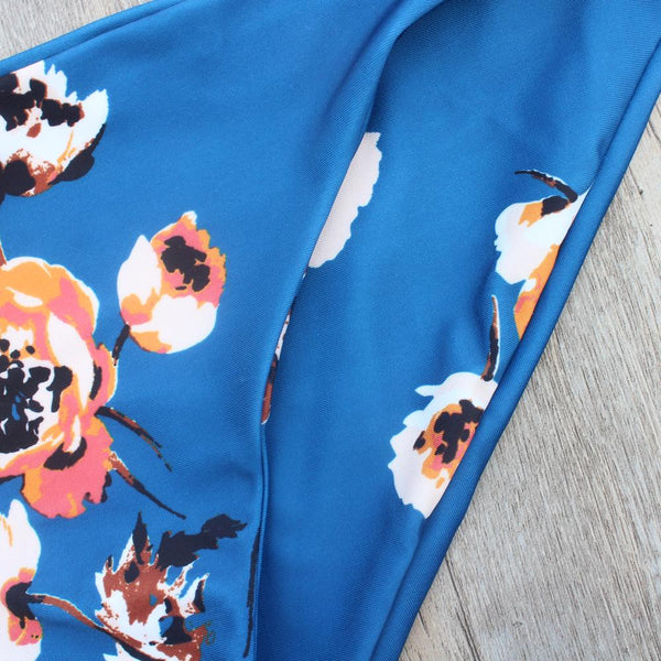 Charming Blue High Neck Floral Swimwear by Pesci Moda