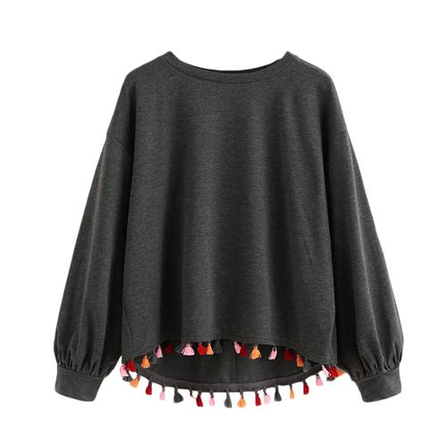 Dark Gray Colorful Tassel Pullover by Pesci Moda