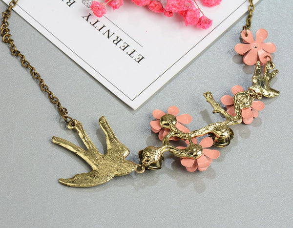 Vintage Crystals Bird Necklaces Pendants by Pesci Moda