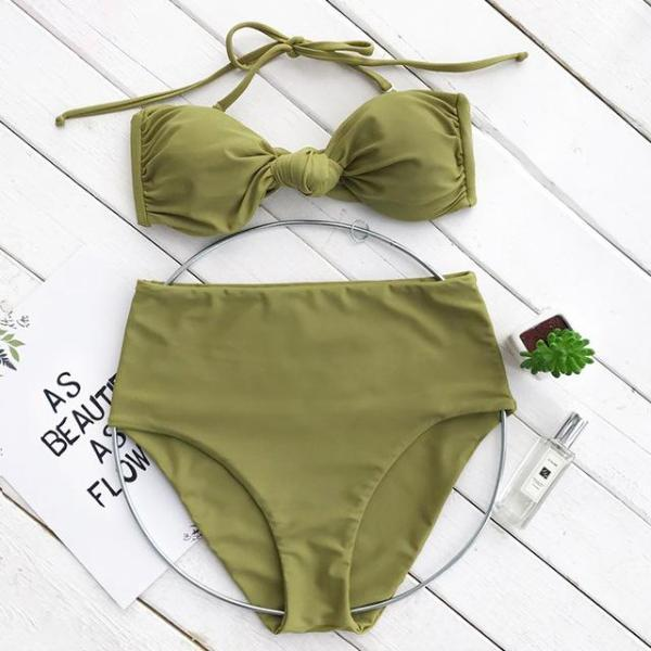 Green Halter High Waisted Swimsuit by Pesci Moda