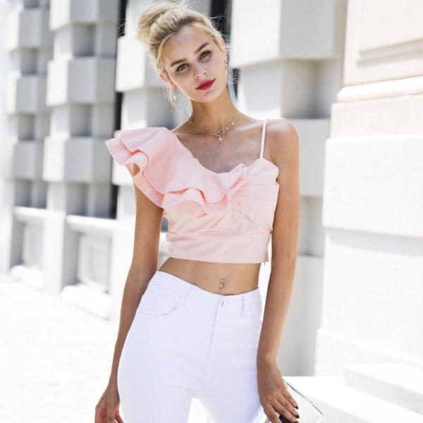 Cute One shoulder Ruffle  Crop Top Shirt by Pesci Moda