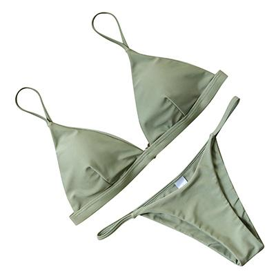 Beach Trend Solid Triangle Bikinis by Pesci Moda