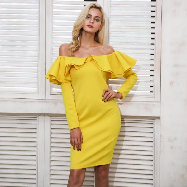 Ruffle Off Shoulder Winter Dress by Pesci Moda