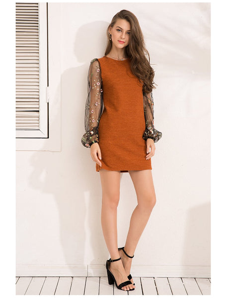 Brown Knitted Embroidery Sweater Dress by Pesci Moda