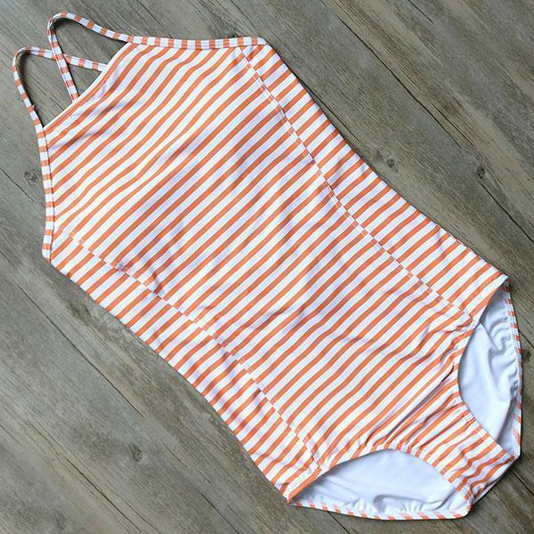 Beach Kissed Striped High Neck Swimsuit