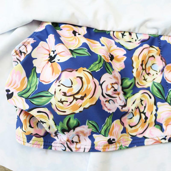 Rosy Floral Off Shoulder Swimwear