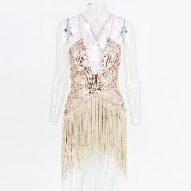 Gold / Purple Sequin Tassels Bodycon Dress by Pesci Moda