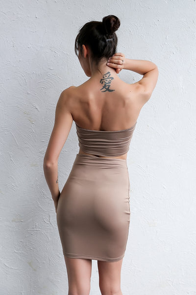 Brown / Gray Strapless Crop Top & Skirt by Pesci Moda