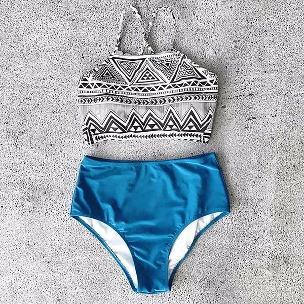 Tribal High-Waisted Blue Swimwear by Pesci Moda
