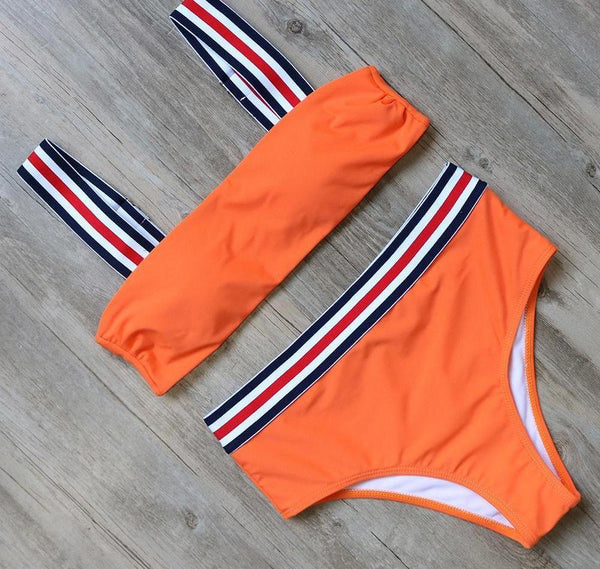 Stripe Border High Waisted Swimming Suit