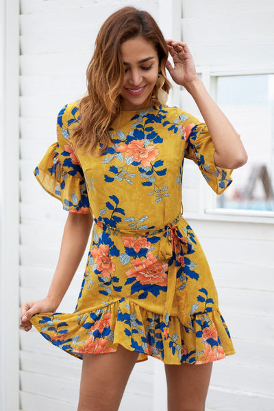 Pink/Yellow Casual Floral Short Boho Dress