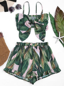Leaf Print Bowknot Shorts & Crop Top Set by Pesci Moda