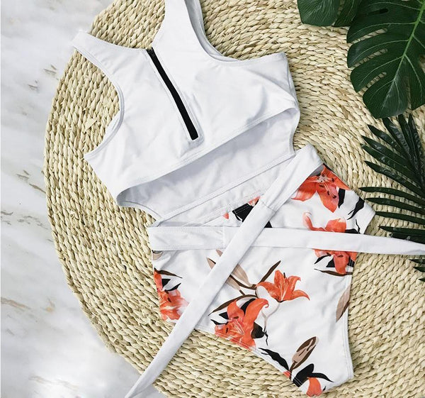 Orange Tulip High Waist Swimsuit