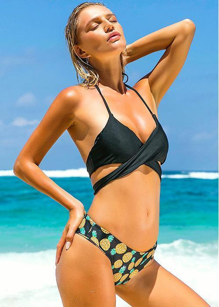 Beach Hot Backless Halter Bikinis Set by Pesci Moda