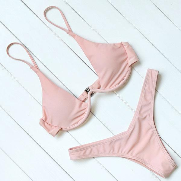 Solid Push Up Underwire Bikinis Set
