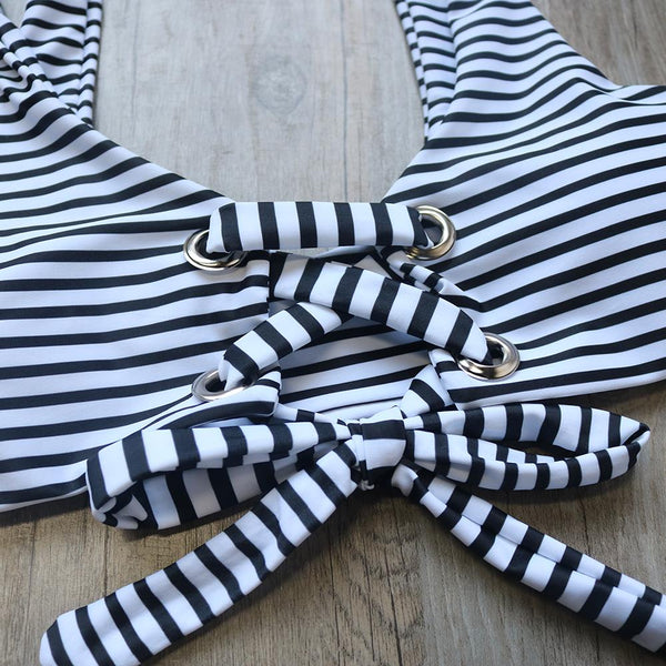 Black Striped High Waist Swimsuit by Pesci Moda