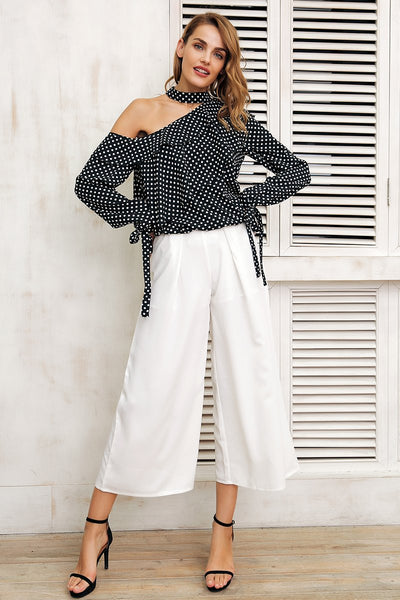 One Shoulder Polka Dot Shirt by Pesci Moda
