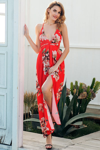 Red Floral Backless Maxi Dress by Pesci Moda