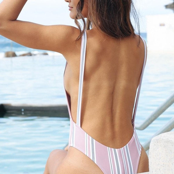 Pink Vertical Striped Swimsuit