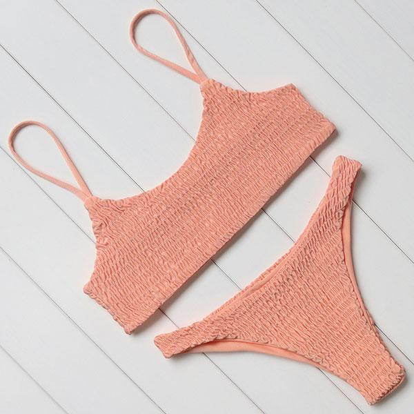 Pleated Bandeau Bikini Swimsuit