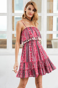 Ethnic Indie Folk Pink Casual Short Dress by Pesci Moda