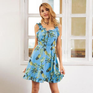 Casual Ruffle Printed Short Dress by Pesci Moda