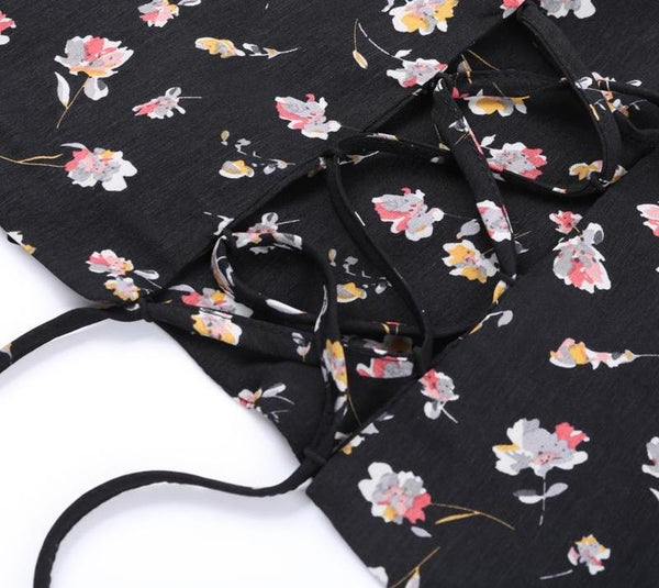 Black Floral Crop Top by Pesci Moda