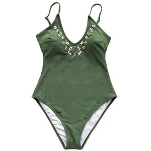 Floral Embroidery Army Green Swimsuit by Pesci Moda