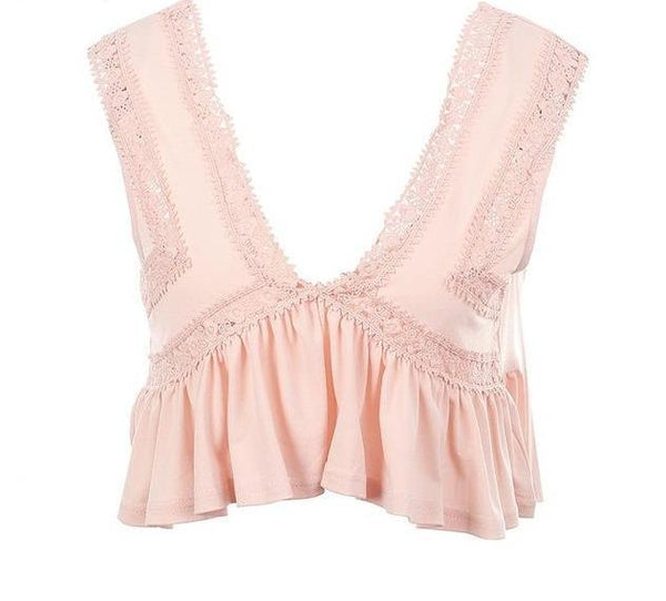 Chiffon Ruffle Short Lace Crop Top by Pesci Moda